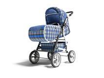 Ο μπλε περιπατητής με τα ένθετα τζιν για το μωρό τρισδιάστατο δίνει στο άσπρο υπόβαθρο με τη σκιά ελεύθερη απεικόνιση δικαιώματος