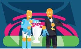 Ο μπλε ποδοσφαιριστής και το λεωφορείο ομάδων γιορτάζουν με το τρόπαιο Στοκ εικόνα με δικαίωμα ελεύθερης χρήσης
