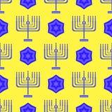 Ο μπλε Δαβίδ Star Menorah Seamless Background ελεύθερη απεικόνιση δικαιώματος