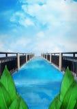 Ο μπλε ουρανός γεφυρών, υπόβαθρο φύσης φύλλων, αφίσα Στοκ Φωτογραφία