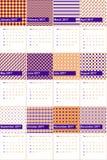 Ο μπλε πολύτιμος λίθος και η Christine χρωμάτισαν το γεωμετρικό ημερολόγιο το 2016 σχεδίων Στοκ Εικόνες