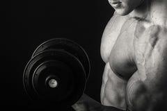 Ο μυϊκός αθλητής καταδεικνύει τους μυς του κάτω από το φορτίο σε ένα σκοτεινό υπόβαθρο Στοκ Εικόνα
