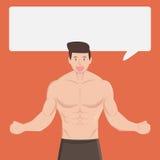 Ο μυϊκός υγιής άνδρας ικανότητας λέει και εξηγεί κάτι στο dialo διανυσματική απεικόνιση