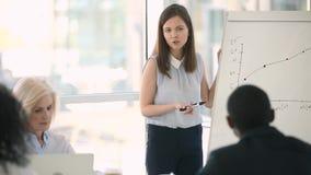 Ο νέος εκπαιδευτής επιχειρηματιών παρουσιάζει flipchart στο εταιρικό σεμινάριο συνεδρίασης απόθεμα βίντεο