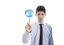 Ο νέος επιχειρηματίας κρατά έναν κόσμο στοκ φωτογραφία με δικαίωμα ελεύθερης χρήσης