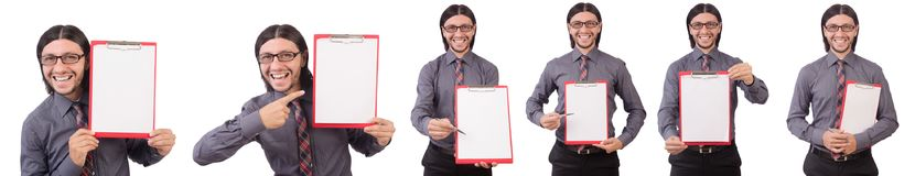 Ο νέος επιχειρηματίας με το έγγραφο για το λευκό Στοκ Εικόνες
