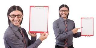 Ο νέος επιχειρηματίας με το έγγραφο που απομονώνεται στο λευκό Στοκ εικόνα με δικαίωμα ελεύθερης χρήσης