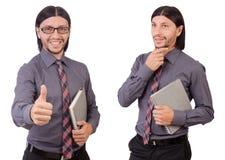 Ο νέος επιχειρηματίας με το έγγραφο που απομονώνεται στο λευκό Στοκ Φωτογραφία