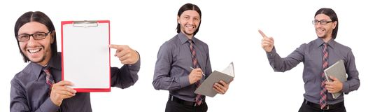Ο νέος επιχειρηματίας με το έγγραφο που απομονώνεται στο λευκό Στοκ Εικόνες