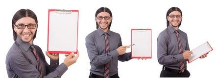 Ο νέος επιχειρηματίας με το έγγραφο που απομονώνεται στο λευκό Στοκ εικόνες με δικαίωμα ελεύθερης χρήσης