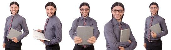 Ο νέος επιχειρηματίας με το έγγραφο που απομονώνεται στο λευκό Στοκ Εικόνα