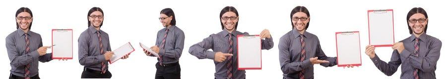 Ο νέος επιχειρηματίας με το έγγραφο που απομονώνεται στο λευκό Στοκ φωτογραφίες με δικαίωμα ελεύθερης χρήσης