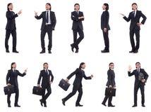 Ο νέος επιχειρηματίας που απομονώνεται στο άσπρο υπόβαθρο Στοκ Εικόνα