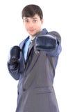 Ο νέος επιχειρηματίας στα εγκιβωτίζοντας γάντια. Στοκ Εικόνα