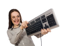 Ο νέος επιχειρηματίας στην αστεία έννοια στο λευκό Στοκ φωτογραφία με δικαίωμα ελεύθερης χρήσης
