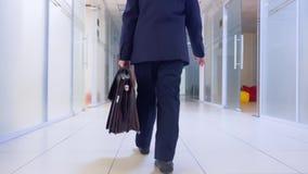 Ο νέος επιχειρηματίας στην επιχειρησιακή ακολουθία και ο χαρτοφύλακας που περπατά στην πλάτη διαδρόμων γραφείων βλέπουν Νέος μαθη απόθεμα βίντεο