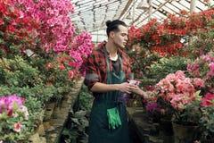 Ο νέος ευτυχής κηπουρός ατόμων σε ένα πουκάμισο καρό με ένα καθιερώνον στοκ φωτογραφία με δικαίωμα ελεύθερης χρήσης