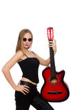 Ο νέος κιθαρίστας γυναικών που απομονώνεται στο λευκό Στοκ Εικόνα