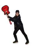 Ο νέος κιθαρίστας που απομονώνεται στο λευκό Στοκ εικόνα με δικαίωμα ελεύθερης χρήσης