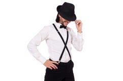 Ο νέος κύριος με το καπέλο που απομονώνεται στο λευκό Στοκ εικόνες με δικαίωμα ελεύθερης χρήσης