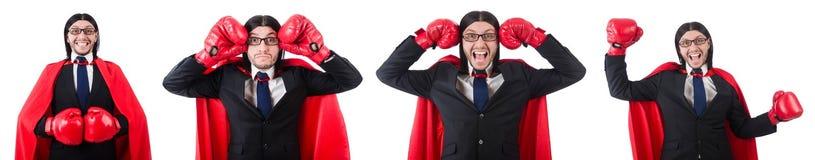 Ο νέος μπόξερ επιχειρηματιών που απομονώνεται στο λευκό Στοκ φωτογραφία με δικαίωμα ελεύθερης χρήσης