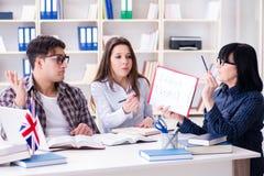 Ο νέος ξένος σπουδαστής κατά τη διάρκεια του μαθήματος αγγλικής γλώσσας Στοκ φωτογραφίες με δικαίωμα ελεύθερης χρήσης