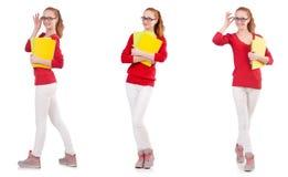 Ο νέος σπουδαστής με τα βιβλία στο λευκό Στοκ εικόνα με δικαίωμα ελεύθερης χρήσης