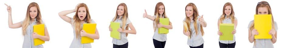 Ο νέος σπουδαστής με τα βιβλία στο λευκό Στοκ Εικόνα