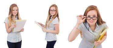 Ο νέος σπουδαστής με τα βιβλία στο λευκό Στοκ Εικόνες