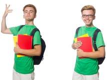 Ο νέος σπουδαστής με το σακίδιο πλάτης και σημειώσεις που απομονώνονται στο λευκό στοκ εικόνα