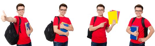 Ο νέος σπουδαστής με το σακίδιο πλάτης που απομονώνεται στο λευκό στοκ φωτογραφία