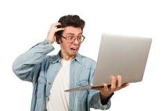 Ο νέος σπουδαστής με το lap-top που απομονώνεται στο λευκό Στοκ Εικόνες