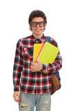 Ο νέος σπουδαστής στο λευκό στοκ εικόνες