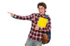Ο νέος σπουδαστής στο λευκό στοκ φωτογραφία με δικαίωμα ελεύθερης χρήσης