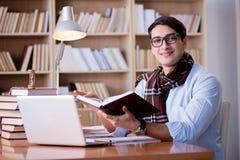 Ο νέος συγγραφέας που εργάζεται στη βιβλιοθήκη Στοκ φωτογραφία με δικαίωμα ελεύθερης χρήσης