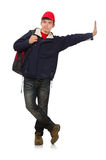 Ο νέος ταξιδιώτης με το σακίδιο πλάτης που απομονώνεται επάνω Στοκ εικόνες με δικαίωμα ελεύθερης χρήσης