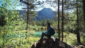 Ο νέος τουρίστας γυναικών κάθεται σε μια πέτρα και και κοιτάζοντας μπροστά σε μια ηλιόλουστη ημέρα απόμακρη πιθανότητα απόθεμα βίντεο