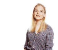 Ο νέος όμορφος ξανθός έφηβος κοριτσιών στο λευκό απομόνωσε το ξανθό ευτυχές s Στοκ Φωτογραφία