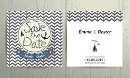 Ο ναυτικός γάμος σώζει την κάρτα ημερομηνίας στο υπόβαθρο σχεδίων σιριτιών Στοκ Εικόνες