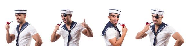 Ο ναυτικός με τον καπνίζοντας σωλήνα που απομονώνεται στοκ φωτογραφία με δικαίωμα ελεύθερης χρήσης