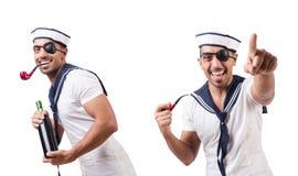 Ο ναυτικός με τον καπνίζοντας σωλήνα που απομονώνεται στοκ φωτογραφίες με δικαίωμα ελεύθερης χρήσης