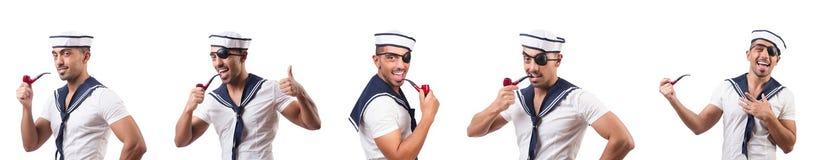 Ο ναυτικός με τον καπνίζοντας σωλήνα που απομονώνεται στοκ φωτογραφίες