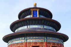 Ο ναός της άποψης κινηματογραφήσεων σε πρώτο πλάνο ουρανού με ένα σαφές υπόβαθρο μπλε ουρανού στο Πεκίνο, Κίνα Στοκ Εικόνες