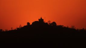 Ο ναός τοποθετεί στο ηλιοβασίλεμα σε Haridwar Στοκ Φωτογραφία