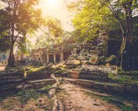 Ο ναός Khan Preah, Siem συγκεντρώνει, Καμπότζη Στοκ Φωτογραφία