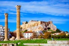 Ο ναός Olympian Zeus ελληνικά: Tou Olimpiou Dios NAO (Εθνικός Οργανισμός Διαιτησίας), επίσης γνωστό ως Olympieion, Αθήνα στοκ εικόνα