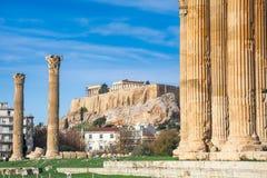 Ο ναός Olympian Zeus ελληνικά: Tou Olimpiou Dios NAO (Εθνικός Οργανισμός Διαιτησίας), επίσης γνωστό ως Olympieion, Αθήνα στοκ εικόνες με δικαίωμα ελεύθερης χρήσης