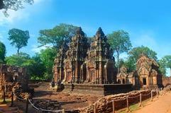 Ο ναός Srei Banteai ο ναός των γυναικών Angkor wat Siem συγκεντρώνει την Καμπότζη Στοκ Εικόνα