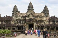 Ο ναός Wat Angkor σε Siem συγκεντρώνει στην Καμπότζη Στοκ Εικόνες