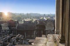 Ο ναός Wat Angkor, Siem συγκεντρώνει, Καμπότζη Άποψη από τη τοπ σειρά του ναού στην εγγύτητα Στοκ Εικόνες